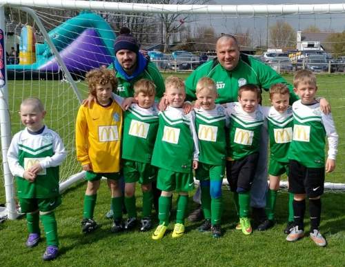 Big kids James and Thomas with the Little Ones at Sunday's Charity tournament ... please scroll down for more photos