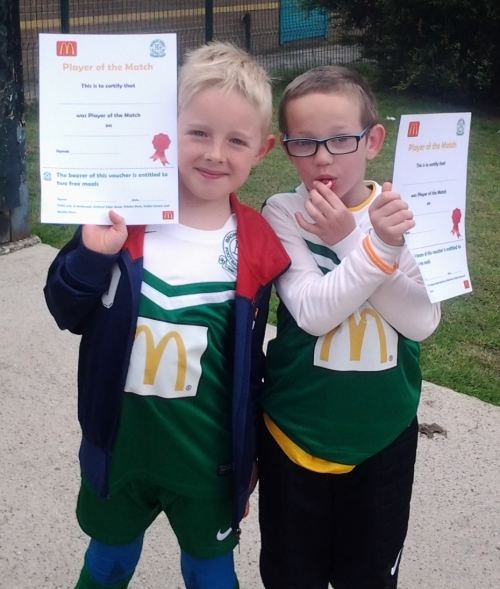 McDonalds here we come. Bartosz and Adrian receive their prizes.