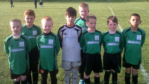 BG Under 9s before an entertaining friendly with Pilgrims Rest that ended all square at 1-1