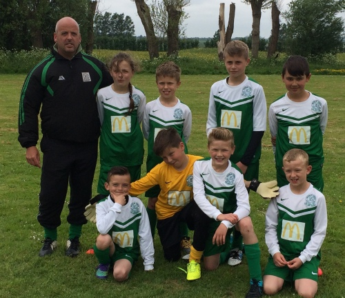 The U10s with manager Sid Hone who this week has added Jake P and Daniel D to his squad