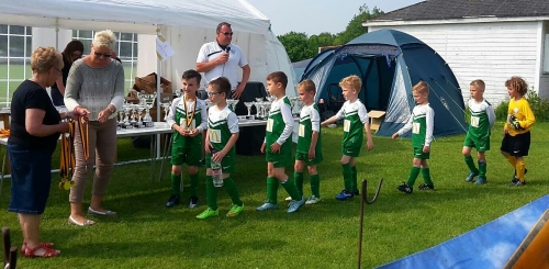 Bromley Green U8s line up for their medals at the Kennington Tournament