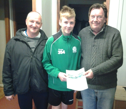 Kacper, pictured with Rob Finn and Stan Donald, is loving it at Bromley Green