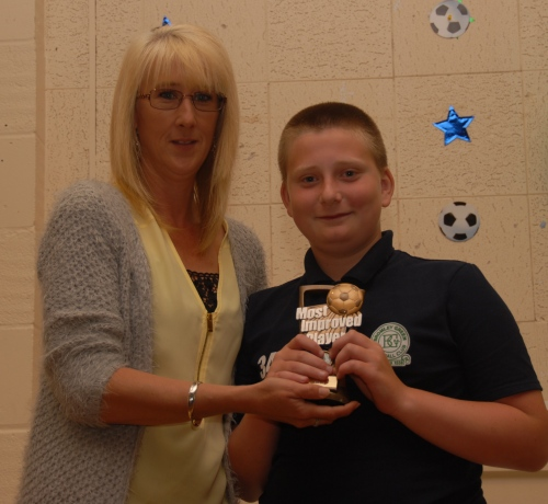 Igor Blejwas has made tremendous progress and is rewarded with the U11s Most Improved Player award from Jane Waters