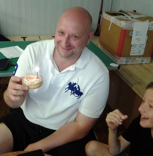Budweiser and doughnuts ... what better way to celebrate one's birthday!