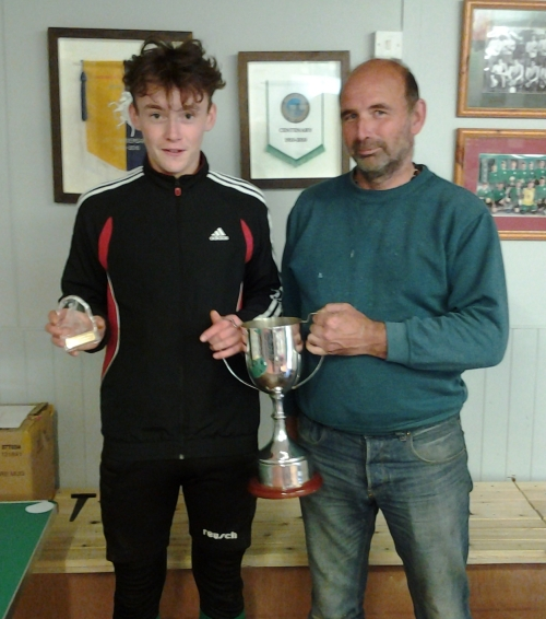 Louis Burton receives the Tommy Stafford Memorial Trophy from Matt Twyman