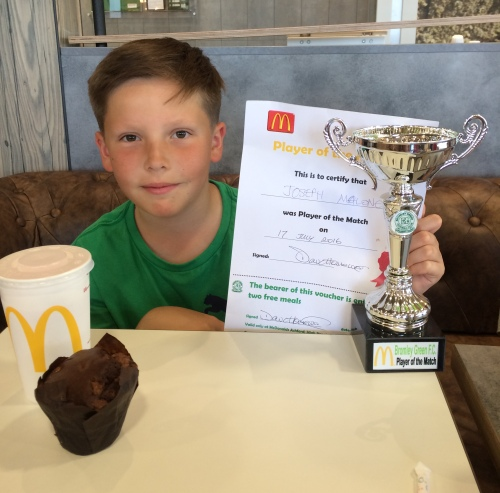 Joseph celebrates his Player of the Match award from the recent U11s game