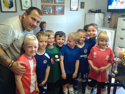 The U8s have fun after training on Monday