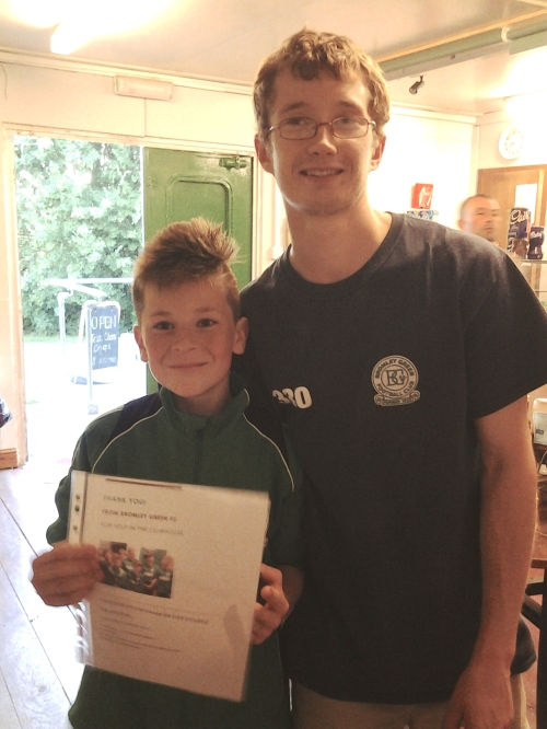 21 today! Charlie presents Ted with a thank you voucher for all his hard work lately in the clubhouse