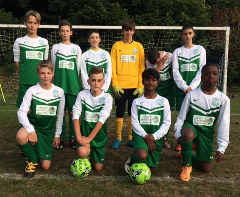 The ten men of the U14s who battled well early doors but suffered big defeat