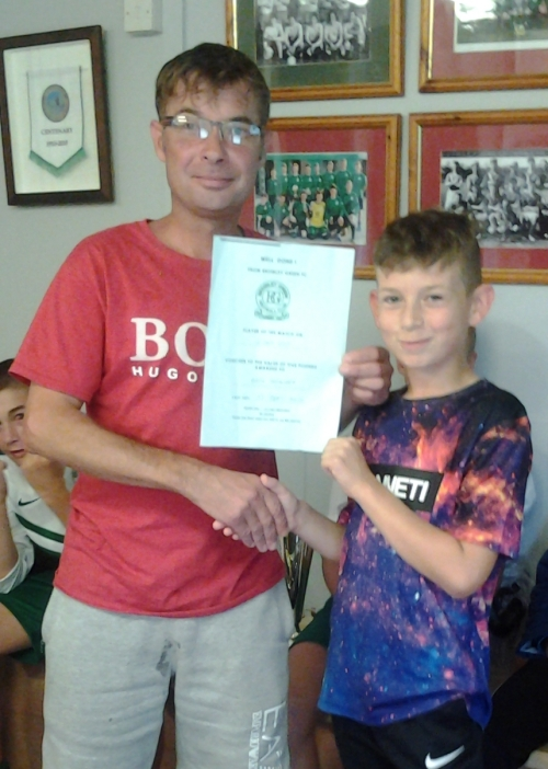 Ben Seager receives his BGFC voucher from Pete Ripley