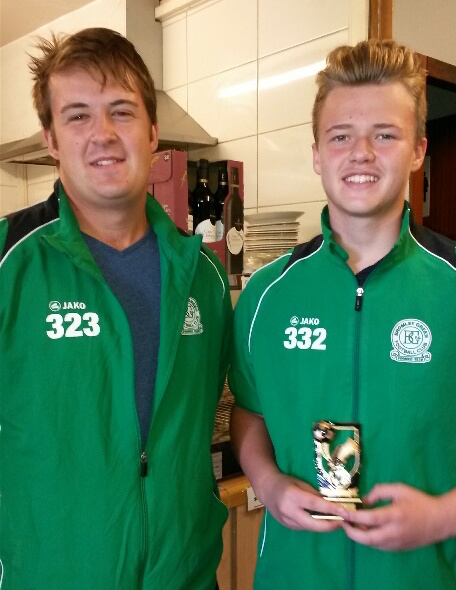 Thomas Smith our U16s Player of the Tournament with manager Aaron Maul
