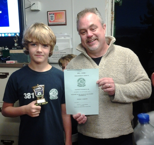 Congratulations Frankie Cummper of the U13s, seen here receiving his BGFC voucher from Vice-Chairman Shane Cowley last night
