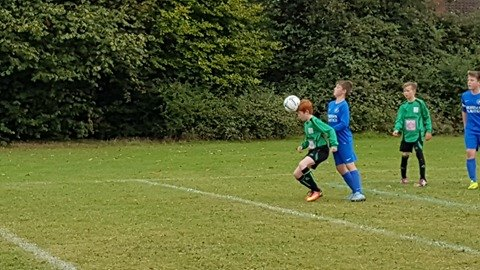Elliot in action for the U12s ... loads more photos on the Green Army and Bromley Green facebook pages