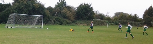 Olly drives in the Colts equaliser against the Green this morning