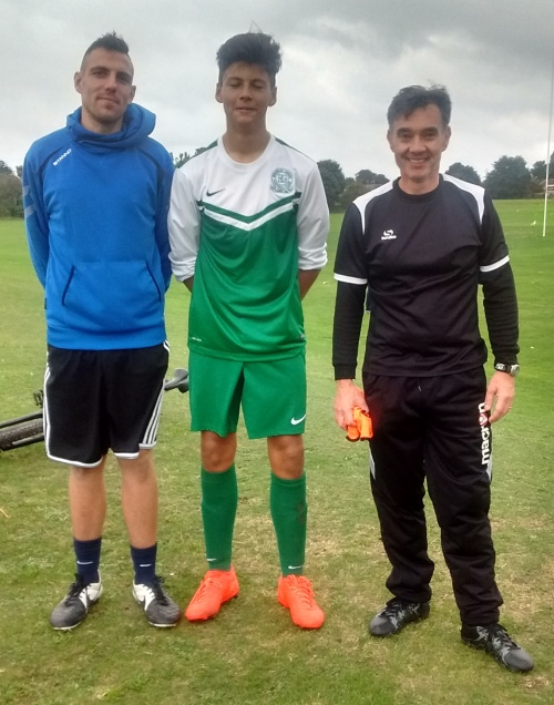 Player of the Match for the EKYL U15s Ryan Harris with Carl and Sean