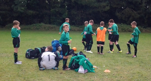 Half time break for the U12s at Waterside