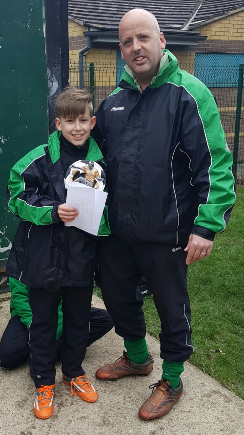 Congratulations Archie ... Player of the Match ... with manager Sid