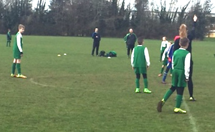 U11s in action on Saturday against Hawkinge Youth